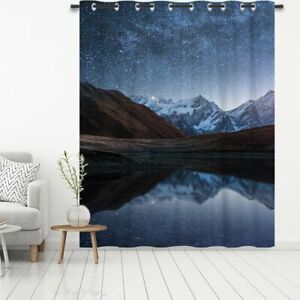 Night Landscape Blackout Door Window Curtains Thermal Insulated Panels Drapes