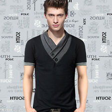 New Stylish Men Summer Luxury Casual Button V Neck Slim Fit Tops T Shirt