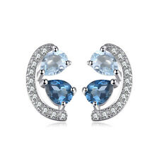 JewelryPalace 0.8ct Genuine Sky Blue Topaz and London Blue Topaz  Stud Earrings