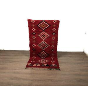 Berber Teppich Rug Carpet Handmade Wool Boucherouite Red Area Modern 5.9'X3'Feet