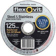"""100 x Flexovit 125mm/5"""" MEGA-LINE Ultra Thin 1mm Cut Off Wheels"""