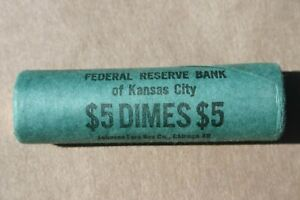 1963 D ROOSEVELT DIME ORIGINAL BANK WRAP ROLL OBW SILVER 10 CENTS