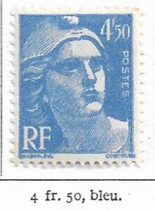 Timbre France Marianne de Gandon 1945-47  Typographiés - N° 718a - 4f50 bleu