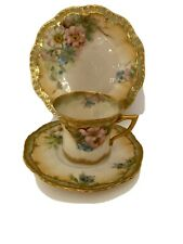 ANTIQUE NAUTILUS PORCELAIN HAND PAINTED CUP, SAUCER AND PLATE ~ MAGNOLIA