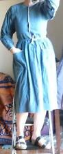 Vintage 60s-70s quilted bodice distressed blue cotton modest victorian dress S-M