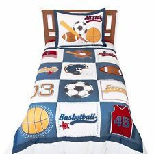 Patchwork Sports Bedding Basketball Soccer Football Boy Twin Comforter Set