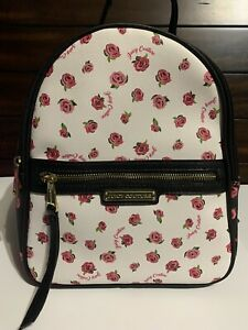 JUICY COUTURE Backpack White/ Black Floral Rose Bag/Purse Mochila, Cartera Bolso