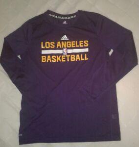 Adidas Los Angeles NBA Basketball Youth Size 14-16 Long Sleeve Climalite Shirt