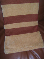 """New Chenille Bedspread Throw Blanket 100"""" x 52 Afghan Gold Red Lap Striped"""
