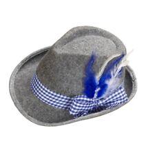 TIROLER Hut blau/weiße Kordel mit Feder - Oktoberfest Trachten Hut Sepplhut #711