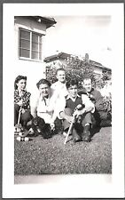 VINTAGE COCKER SPANIEL DOG POSING WITH FAMILY OF CROQUET PLAYERS SPORT OLD PHOTO