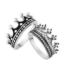 silver crown rings,jewelry,queen and king crown ring set,princess ring,handmade