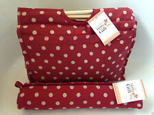 Knitting Bag Sewing Bag With Matching Needle Holder 100 Cotton Burgundy Spot