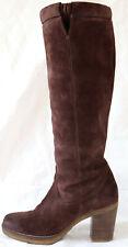 Leather Boots Geox Block Heel Suede Nubuck Autumn Braun 40