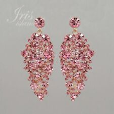 Rose Gold Plated Pink Crystal Rhinestone Wedding Chandelier Dangle Earrings 0938