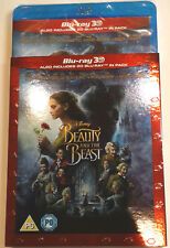BEAUTY AND THE BEAST New 3D + 2D BLU-RAY Slipcover Movie 2017 Live-Action Disney