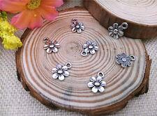 Wholesale 20pcs Tibet Silver Flower Charm Pendant Beaded Jewelry DIY