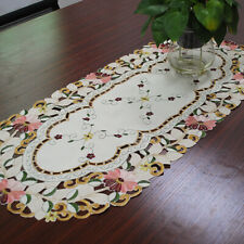 White Oval Placemat Satin Embroidered Small Tablecoth Doily Floral Lace Decor