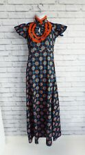 Vintage Style 60's Geometric Floral Hippy Smock Cotton Maxi Dress Size S 8