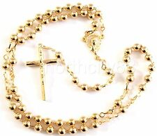 Catholic Rosary Gold Plated 5mm Round Metal beads Madonna center Religious Cross