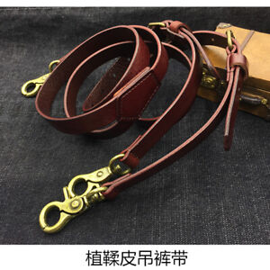 "Vegetable Tanning Genuine Leather Strap men's Suspender Y back Belt 0.7"" Width"