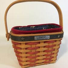 New ListingLongaberger 2001 Inaugural Basket, Blue Cotton Star Liner, Plastic Protector