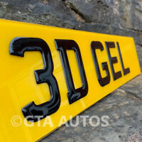 REAR Only 3D Gloss Black Domed Resin Raised Gel Car Number Plate Road Legal