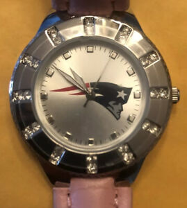 New England Patriots Game Time Quartz Wrist Watch Silver with Pink Band Ladies