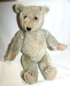 Antique Chiltern Toy Teddy Bear, Blue Mohair With Squeaker 1940s England