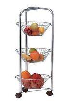 3 Tier Round Chrome Vegetable Fruit Storage Trolley Rack Stand Basket Kitchen