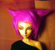 Hot pink cat ear fake fur size 8-9 wig for Luts Delf, 1/3 bjd DOLL(limited)