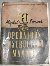 Cummins Diesel Model H Series Operator's Instruction Manual 1945