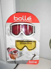 f50bde59be BOLLE White with Vermillion Lens Snowboard Ski Goggles   Storm Lens 21402C