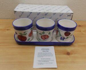 Princess House 4 Piece Orchard Medley Ceramic Flowerpot Set  #261 W/ Box