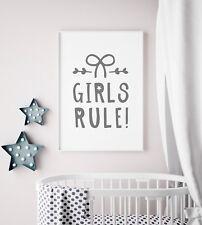 """""""Girls Rule"""" Grey Nursery Art Print / Picture For Bedroom / Playroom Kids Art"""