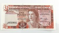 1975 Government Gibraltar One 1 Pound J Prefix Almost Uncirculated Banknote I753