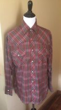 Western Pearl Snap Shirt Size L/XL Button Plaid Ladies Le Chevron EC