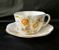 Taylor & Kent England China Longton Flowers & Gold Trim Tea Cup & Saucer