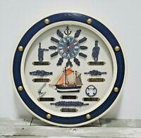 Nautical Maritime Wall Clock - Ship Yacht Sail Boat Knots - Blue and White