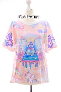 T-05 Lolita T-Shirt Auge Harajuku Hypnose Flügel Unicorn Illuminati Pastel Goth