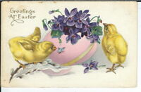 CA-064 Greetings at Easter, Divided Back Postcard Chicks Large Egg Butterfly