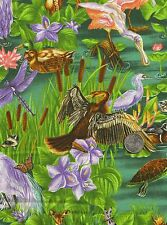 CLEARANCE Pond Life Animals Dragonflies Swan Birds Novelty Quilt Fabric FQ FQs