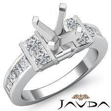 Princess Side Diamond Engagement Ring Platinum 950 1Ct Round Shape Semi Mount