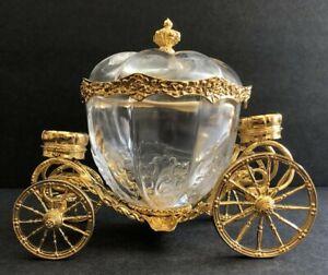Franklin Mint Cinderella Crystal Gold Plated Coach w/Lid Disney Carriage 1989 FM