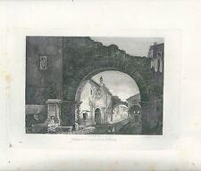 1848 TEMPIO D'ERCOLE A TIVOLI acquaforte su rame Cavalieri