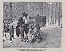 Drehorgel, Leierkasten, Leiermanns Kaffeepause - Stich nach F. Kraus 1881