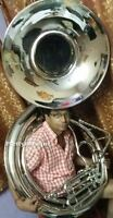 "SOUSAPHONE BIG 25"" BELL OF PURE BRASS IN CHROME + MOUTHPC + CASE + FREE SHIPPING"