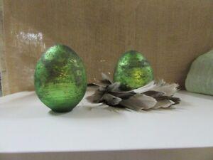 edles Osterdeko Ei grün-antik aus Glas 10 cm hoch Osterdeko Tischdeko