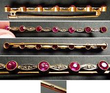 Broche  OR massif 18k + diamants + rubis Bijou ancien gold brooch diamond