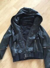 ALL SAINTS COBRA BOMBER Size 14, Black Leather, Hooded,fab Condition